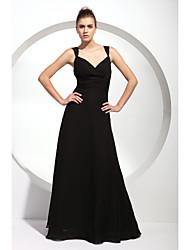 Linha A Princesa Longo Chiffon Vestido de Madrinha com Pregueado Franzido de LAN TING BRIDE®
