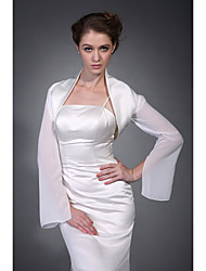 Long Sleeves Satin Chiffon Bridal Evening Jacket/ Wedding Wrap Bolero Shrug