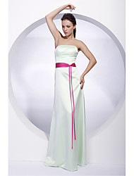 LAN TING BRIDE Floor-length Satin Bridesmaid Dress - Sheath / Column Strapless Plus Size / Petite