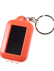 Solar Powered White Light LED and UV 3-LED Keychain Flashlight (Orange)