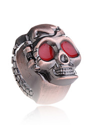 Adjustable Skull Ring With Clock