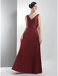 Lanting Floor-length Satin Bridesmaid Dress - Burgundy Plus Sizes / Petite A-line V-neck