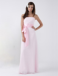 Lanting Floor-length Chiffon Bridesmaid Dress - Blushing Pink Plus Sizes / Petite Sheath/Column Strapless