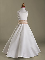 Lanting Bride A-line / Princess Floor-length Flower Girl Dress - Satin Sleeveless Spaghetti Straps with Ruffles / Ruching