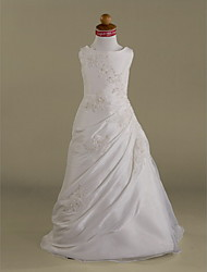 A-line / Princess Floor-length Flower Girl Dress - Taffeta / Tulle Sleeveless Scoop with Appliques / Beading / Side Draping