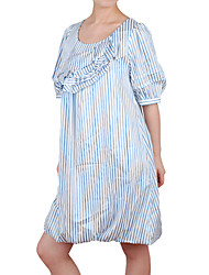 Puff Half Sleeves Frills Stripes Women's Dresses(1802BC103-0736)