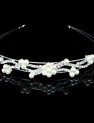 Gorgeous Clear Crystals and Imitation Pearls Wedding Bridal Tiara/ Headpiece/ Headband