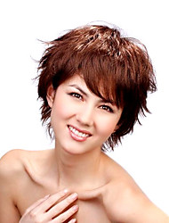 Capless Short Synthetic Golden Brown European Weave Side Bangs Hair Wig