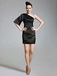 TS Couture Cocktail Party Holiday Dress - Celebrity Style Little Black Dress Sheath / Column One Shoulder Short / Mini Charmeuse withSide