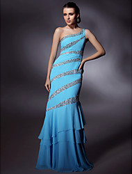 Chiffon/ Stretch Satin Trumpet/ Mermaid One Shoulder Floor-length Beading Evening/Prom Dress inspired by Grammy