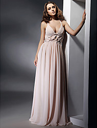TS Couture® Formal Evening / Military Ball Dress - Pearl Pink Plus Sizes / Petite Sheath/Column V-neck / Straps Floor-length Chiffon