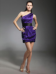 Clearance!Elastic Silk Like Satin Sheath/ Column One Shoulder Short/ Mini Cocktail Dress
