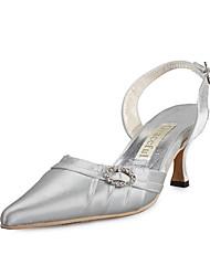 qualidade superior de cetim superior meados slingback com sapatos de saltos rhinestone casamento / sapatos de noiva (0984-R-037)