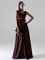 Lanting Floor-length Chiffon Bridesmaid Dress - Chocolate Plus Sizes / Petite A-line V-neck