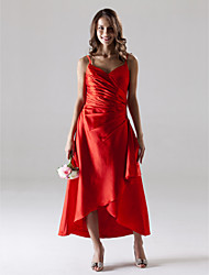 Lanting Bride Tea-length / Asymmetrical Stretch Satin Bridesmaid Dress A-line Spaghetti Straps Plus Size / Petite with Side Draping