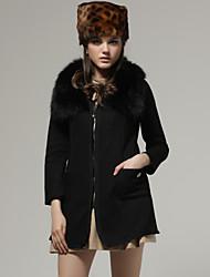 Rabbit Hair Long Sleeves Front Zipper Sweater Coat / Women's' Coats (FF-A-BK0996005)