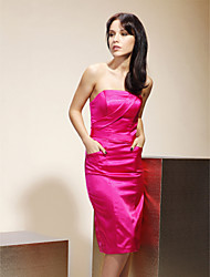 Knee-length Stretch Satin Bridesmaid Dress-Plus Size / Petite Sheath/Column Strapless