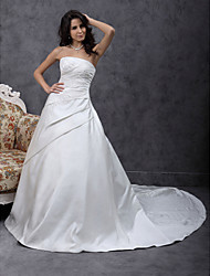 LAN TING BRIDE A-line Princess Wedding Dress - Classic & Timeless Elegant & Luxurious Simply Sublime Chapel Train Strapless Satin with