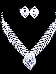 Rhinestone In Alloy Collar Necklace And Earring Bridal Jewelry Set