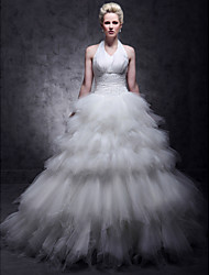 Ball Gown Plus Sizes Wedding Dress - Ivory Floor-length Halter Tulle/Taffeta