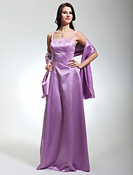 LAN TING BRIDE Floor-length Satin Bridesmaid Dress - Sheath / Column Spaghetti Straps Plus Size / Petite with Beading