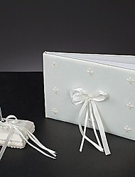 Simple Wedding Guest Book And Pen Set In White Satin