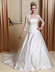 LAN TING BRIDE A-line Princess Wedding Dress - Classic & Timeless Elegant & Luxurious Wedding Dress with Wrap Vintage Inspired Two-in-One