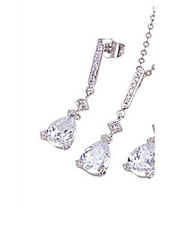 Fashion CZ And Brass With Platinum Plated Jewelry Set,Including Necklace,Earrings