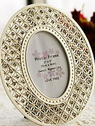Gorgeous Silver Tone Crystal Accented Oval Picture Frame