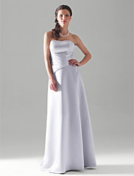 Lanting Bride® Floor-length Satin Bridesmaid Dress A-line / Princess Strapless Plus Size / Petite with Side Draping