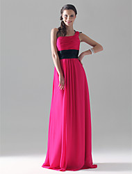 Clearance! Sheath/Column One Shoulder Floor-length Chiffon/Mading Bridesmaid/Wedding Party Dress