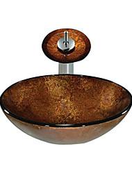 brun évier rond récipient en verre trempé avec robinet cascade (0888-c-blée-6142-wf)