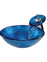 Blue Round Tempered glass Vessel Sink With Waterfall Faucet(0888-C-BLY-6143-WF)