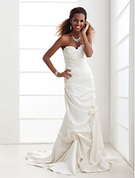 Lanting Bride Trumpet/Mermaid Petite / Plus Sizes Wedding Dress-Court Train Sweetheart Satin