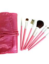 7 Pcs Wool Makeup Brush Set with Free Red Case