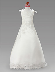 A-line Princess Sweep / Brush Train Court Train Flower Girl Dress - Satin Jewel with Appliques Beading Draping
