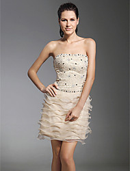 TS Couture® Cocktail Party / Holiday Dress - Short Plus Size / Petite Sheath / Column Strapless Short / Mini Lace / Organza with Beading / Lace /