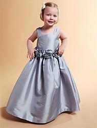 A-line бальное платье принцессы длиной до пола платье девушки цветка - тафта без рукавов квадратная шея lan ting bride®