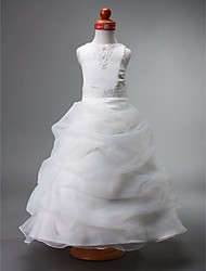 LAN TING BRIDE Ball Gown Floor-length Flower Girl Dress - Organza Satin Jewel with Beading Appliques Pick Up Skirt