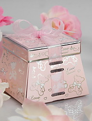 """""""Forever Love"""" Bear Favor Box With Pink Ribbon (Set of 12)"""