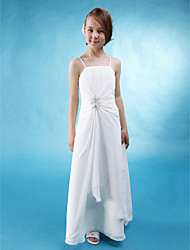 Lanting Bride® Floor-length Chiffon / Stretch Satin Junior Bridesmaid Dress A-line Spaghetti Straps Natural with Beading / Side Draping