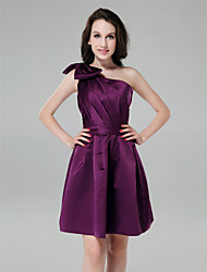 Knee-length One Shoulder Bridesmaid Dress - Short Sleeveless Satin