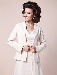 Women's Wrap Coats/Jackets Long Sleeve Satin Ivory Wedding / Party/Evening Shawl Collar 30cm Beading Open Front