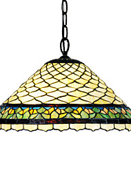 Tiffany Style Fish scale Stained Glass Pendant Light with 2 lights