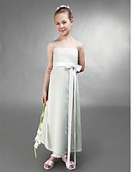 A-line Spaghetti Straps Tea-length Stretch Satin Junior Bridesmaid Dress