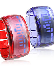 Pair of Bracelet Design Future Blue LED Wrist Watch - Blue & Red