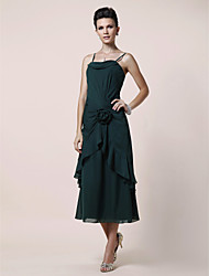A-line Plus Size / Petite Mother of the Bride Dress Tea-length Sleeveless Chiffon with Flower(s) / Side Draping