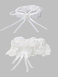 2-teilige Polyester mit Satinbänder Hochzeit Strumpfbänder