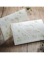 Spring Idea Embossed Wedding Invitation With Heart Cutout-Set of 50/20