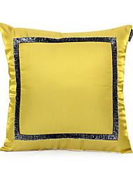 Block Faux-Silk Cushion Cover (Gold)